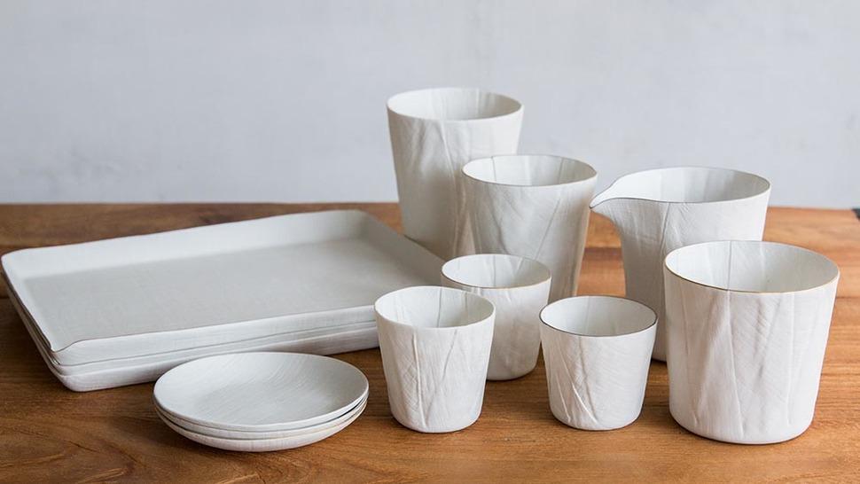 ceramic mimic fabricの文山シリーズが並んでいる様子