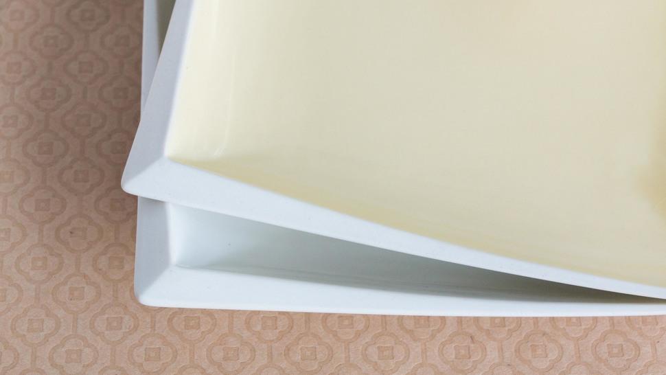 京マシュマロ スクエアプレートペア 白黄