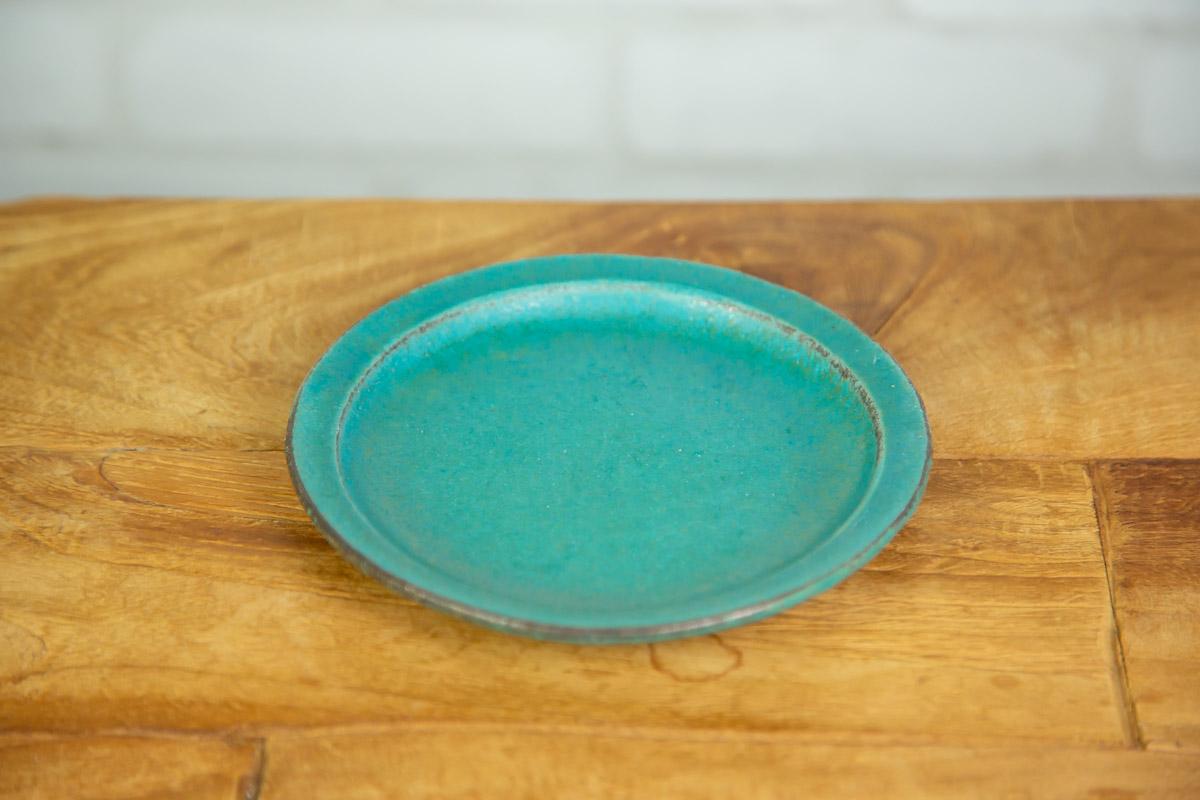 食卓に温もりを届ける わかさま陶芸のプレートS シャビーターコイズ