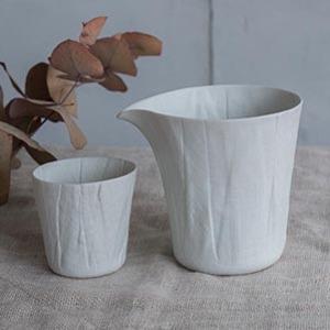 ceramic mimic fabric 冷酒セット/プレーン
